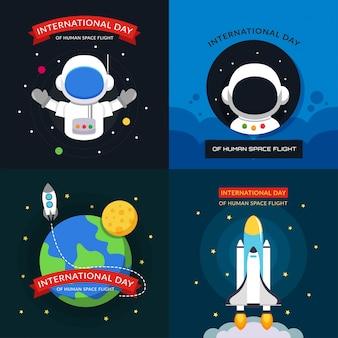 Internationale dag van het posterontwerp van de menselijke ruimtevluchtillustratie
