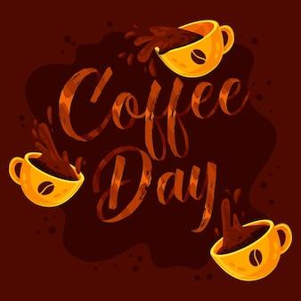 Internationale dag van koffie belettering met geïllustreerde kopjes