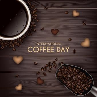Internationale dag van koffie bovenaanzicht