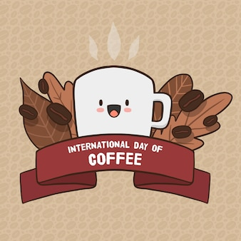 Internationale dag van koffie hand getekend ontwerp