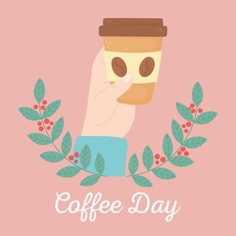 Internationale dag van koffie, hand met wegwerp beker takken zaden