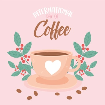 Internationale dag van koffie heerlijke drank verse zaden bladeren