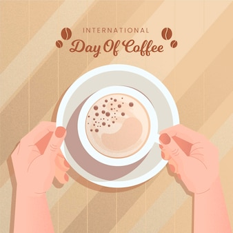 Internationale dag van koffie illustratie