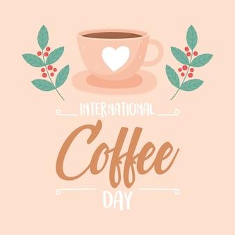 Internationale dag van koffie, kopje op schotel vertakt zaden