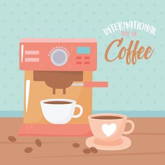Internationale dag van koffie, machine en kopjes met zaden op hout