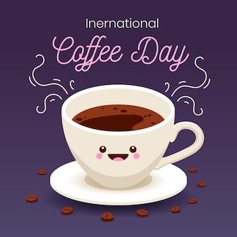 Internationale dag van koffie plat ontwerp