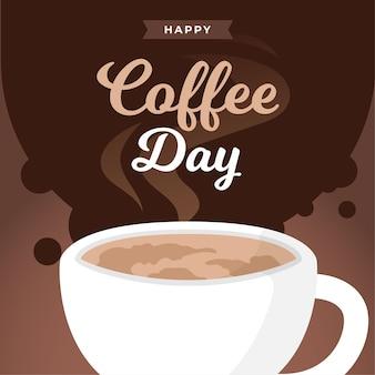 Internationale dag van koffie platte ontwerp achtergrond