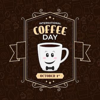 Internationale dag van koffie vintage design