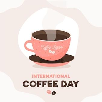 Internationale dag van koffiekopje met stoom