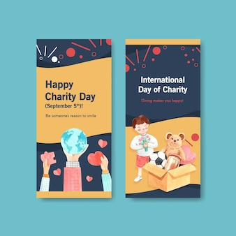 Internationale dag van liefdadigheid flyer conceptontwerp met brochure en folder aquarel vector.