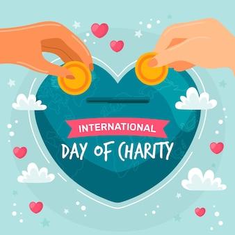 Internationale dag van liefdadigheid hand getekende achtergrond met handen en centen