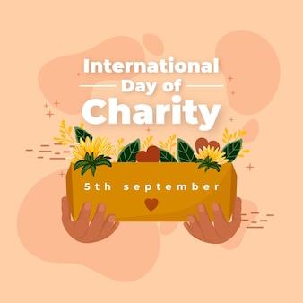 Internationale dag van liefdadigheid hand getekende achtergrond