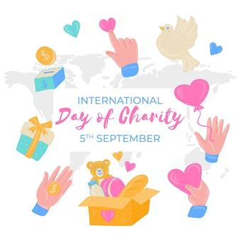 Internationale dag van liefdadigheid hand getekende stijl
