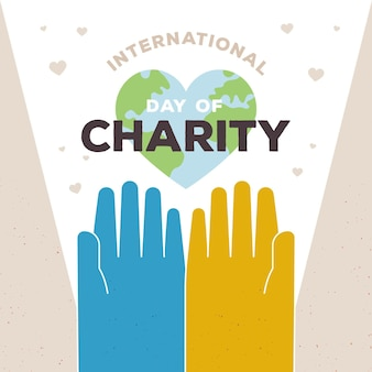 Internationale dag van liefdadigheid met handen en planeet