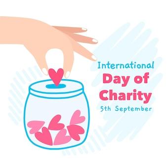 Internationale dag van liefdadigheid pot van harten