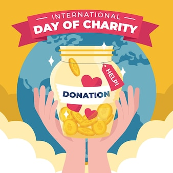 Internationale dag van liefdadigheid trekken thema