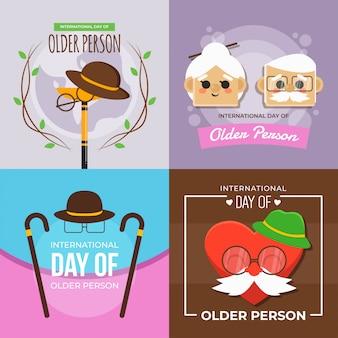 Internationale dag van oudere persoon illustratie