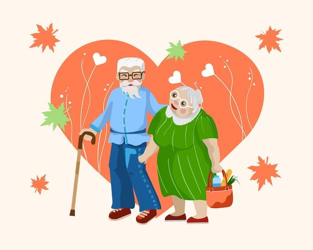 Internationale dag van ouderen. gelukkige grootouders hun hele leven samen.
