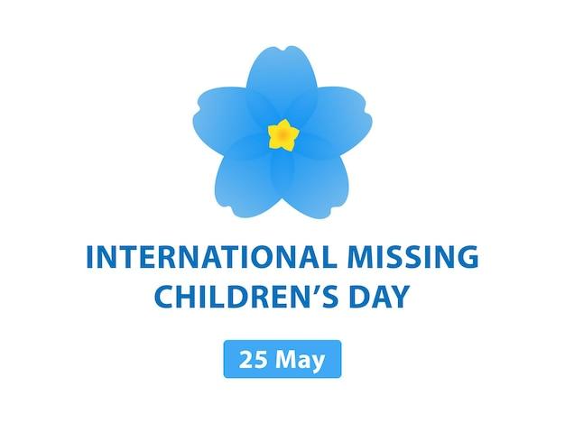 Internationale dag van vermiste kinderen vergeet me niet bloemen verloren kinderen vectorillustratie