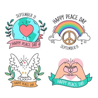 Internationale dag van vrede etiketten sjabloon