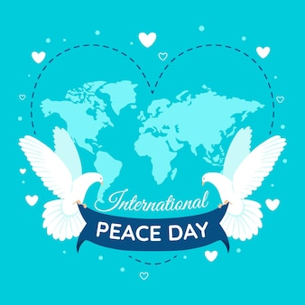 Internationale dag van vrede met kaart en duiven