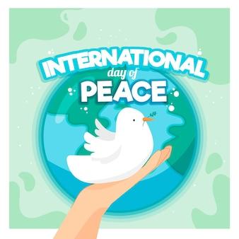 Internationale dag van vrede met planeet en duif