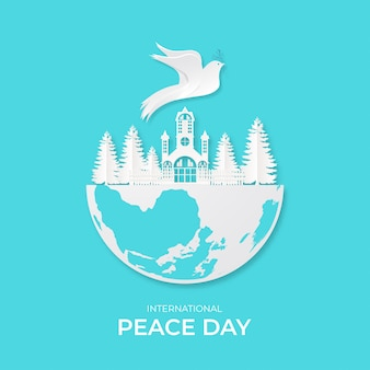 Internationale dag van vrede. vectorillustratie van de duiven van het witboekknipsel.