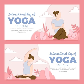 Internationale dag van yoga banner in papier stijl