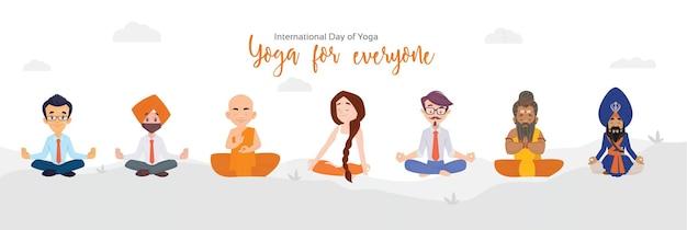 Internationale dag van yoga banner ontwerpsjabloon
