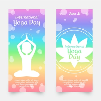 Internationale dag van yoga banners instellen