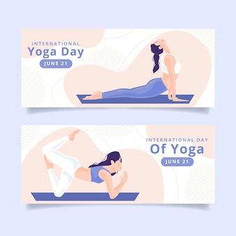 Internationale dag van yoga banners ontwerpen