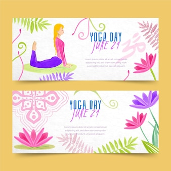 Internationale dag van yoga banners sjabloon