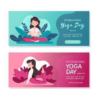 Internationale dag van yoga banners stijl