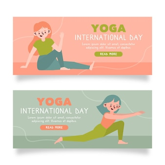 Internationale dag van yoga banners