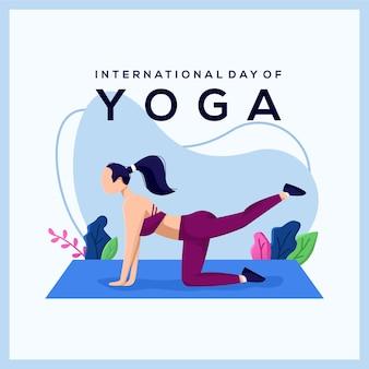 Internationale dag van yoga illustratie concept