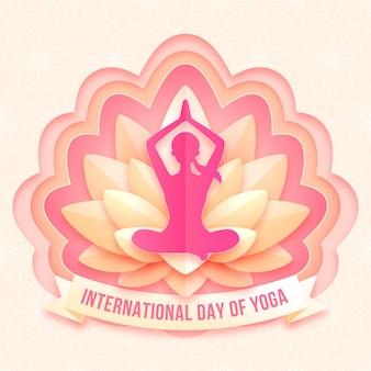Internationale dag van yoga illustratie in papieren stijl