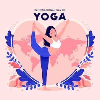 Internationale dag van yoga illustratie met vrouw die zich uitstrekt