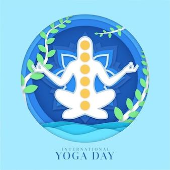Internationale dag van yoga in papierstijl