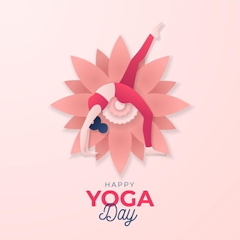 Internationale dag van yoga in papierstijl