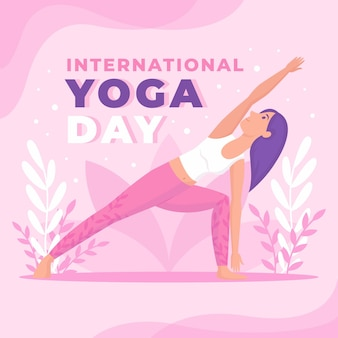 Internationale dag van yoga in plat design
