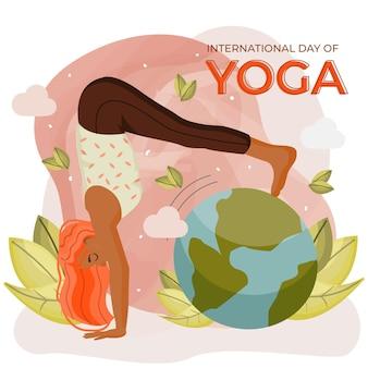 Internationale dag van yoga innerlijke vrede concept