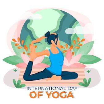 Internationale dag van yoga innerlijke vrede plat ontwerp