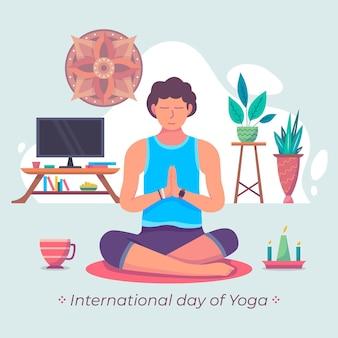 Internationale dag van yoga met man