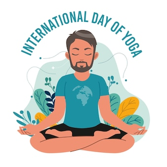 Internationale dag van yoga met man