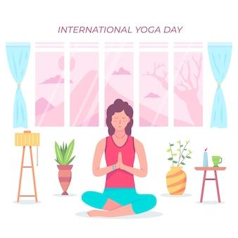 Internationale dag van yoga met vrouw thuis