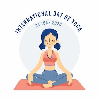 Internationale dag van yoga met vrouw