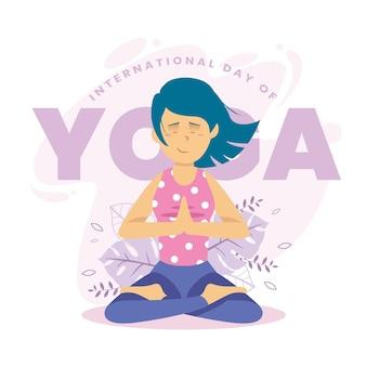 Internationale dag van yoga plat ontwerp