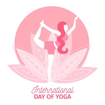 Internationale dag van yoga plat ontwerp