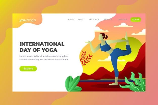 Internationale dag van yoga - vector bestemmingspagina
