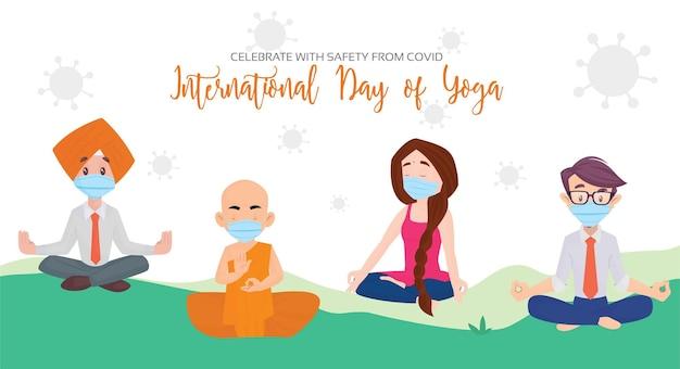 Internationale dag van yoga vieren met veiligheid van covid banner ontwerpsjabloon